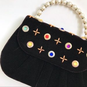 Jeweled Mini Velvet Handbag